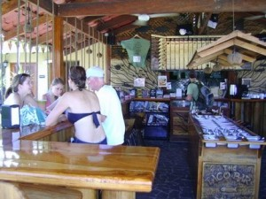 Rustic wood, swings, a full fixins bar, it was a sweet place!