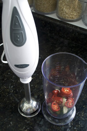 chili peppers and vertical blender