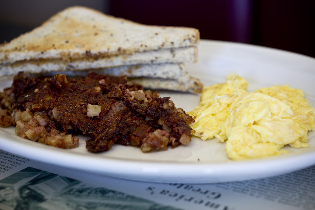 Trips Diner - Corned beef hash and eggs